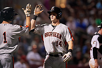 Aberdeen IronBirds left fielder Robert Neustrom (14) is congratulated by Adam Hall (1) after hitting a home run in the top of the fifth inning during a game against the Tri-City ValleyCats on August 27, 2018 at Joseph L. Bruno Stadium in Troy, New York.  Aberdeen defeated Tri-City 11-5.  (Mike Janes/Four Seam Images)