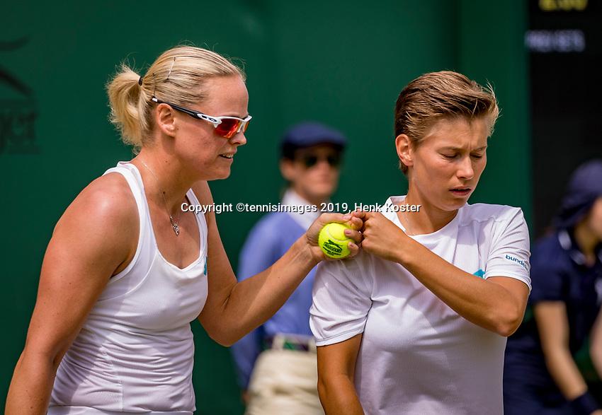 London, England, 8 July, 2019, Tennis,  Wimbledon, women's doubles Demi Schuurs (NED) and Anna-Lena Groenefeld (GER) (L)<br /> Photo: Henk Koster/tennisimages.com