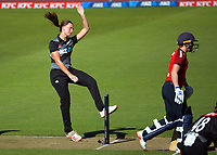 NZ's Rosemary Mair bowls during the 2nd international women's T20 cricket match between the New Zealand White Ferns and England at Sky Stadium in Wellington, New Zealand on Friday, 5 March 2021. Photo: Dave Lintott / lintottphoto.co.nz