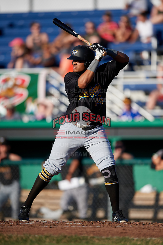 West Virginia Black Bears designated hitter Jhoan Herrera (14) at bat during a game against the Batavia Muckdogs on July 3, 2018 at Dwyer Stadium in Batavia, New York.  Batavia defeated West Virginia 5-4.  (Mike Janes/Four Seam Images)