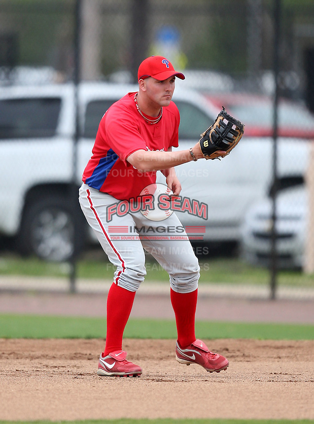 March 25, 2010:  First Baseman Matt Rizzotti of the Philadelphia Phillies organization during a Spring Training game at the Carpenter Complex in Clearwater, FL.  Photo By Mike Janes/Four Seam Images