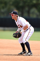 GCL Braves first baseman Ian Hagenmiller (32) during a game against the GCL Blue Jays on June 27, 2014 at the ESPN Wide World of Sports in Orlando, Florida.  GCL Braves defeated GCL Blue Jays 10-9.  (Mike Janes/Four Seam Images)