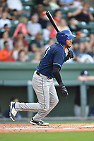 Catcher Joel Diaz (5) of the Asheville Tourists in a game against the Greenville Drive on Tuesday, May 2, 2017, at Fluor Field at the West End in Greenville, South Carolina. Asheville won, 7-1. (Tom Priddy/Four Seam Images)