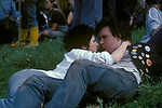 Punk couple in love look into each others eyes Hyde Park London  1985 1980s Uk