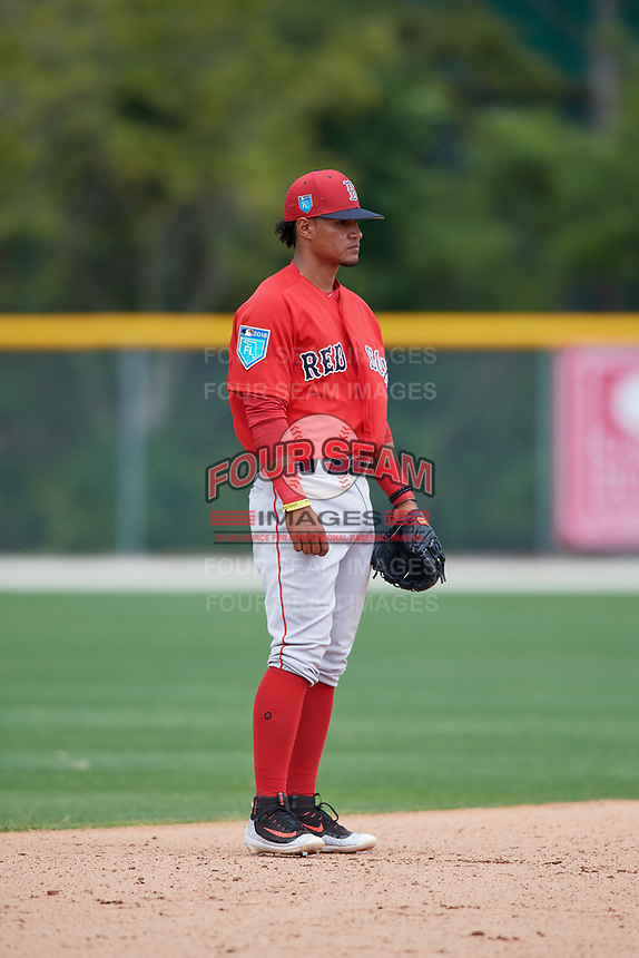 Boston Red Sox Santiago Espinal (10) during a Minor League Spring Training game against the Baltimore Orioles on March 20, 2018 at Buck O'Neil Complex in Sarasota, Florida.  (Mike Janes/Four Seam Images)