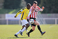 Martin Tuohy of Hornchurch tangles with Carlos Talbot of Bromley - AFC Hornchurch vs Bromley - Blue Square Conference South Football at The Stadium, Upminster Bridge, Essex - 01/04/13 - MANDATORY CREDIT: Gavin Ellis/TGSPHOTO - Self billing applies where appropriate - 0845 094 6026 - contact@tgsphoto.co.uk - NO UNPAID USE.
