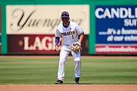 East Carolina Pirates second base Connor Norby (1) during a game against the Cincinnati Bearcats on May 26, 2021 at BayCare Ballpark in Clearwater, Florida.  (Mike Janes/Four Seam Images)