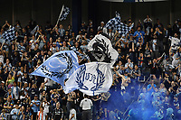 KANSAS CITY, KS - MAY 29: Sporting KC fans celebrate a goal during a game between Houston Dynamo and Sporting Kansas City at Children's Mercy Park on May 29, 2021 in Kansas City, Kansas.