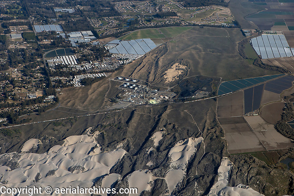 aerial photograph of the Phillips 66 Santa Maria Refinery and adjacent dunes, Arroyo Grande, San Luis Obispo County, California