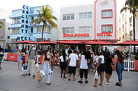 View of Ocean Drive As Curfews Have Been Lifted And Nightclubs Ropen
