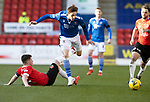 St Johnstone v Clyde…17.04.21   McDiarmid Park   Scottish Cup<br />Scott Tanser skips a tackle by Marky Munro<br />Picture by Graeme Hart.<br />Copyright Perthshire Picture Agency<br />Tel: 01738 623350  Mobile: 07990 594431