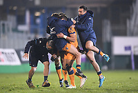 1st May 2021; Recreation Ground, Bath, Somerset, England; European Challenge Cup Rugby, Bath versus Montpellier; Montpellier players mob Handre Pollard after he kicked the final points of the game leaving Montpellier winners 10-19