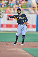 Alberto Triunfel (8) of the Salt Lake Bees on defense against the El Paso Chihuahuas at Smith's Ballpark on August 14, 2018 in Salt Lake City, Utah. El Paso defeated Salt Lake 6-3. (Stephen Smith/Four Seam Images)