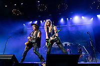 WEST PALM BEACH, FL - OCTOBER 10: Nita Strauss performs at The iTHINK Financial Amphitheatre on October 10, 2021 in West Palm Beach Florida. <br /> CAP/MPI140<br /> ©MPI140/Capital Pictures