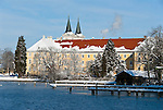 Germany, Bavaria, Upper Bavaria, Tegernseer Valley, Winter at Lake Tegern: former Benedictine monastery and today's Castle Tegernsee with famous Braeustueberl of Tegernsee Brewery and Grammar School
