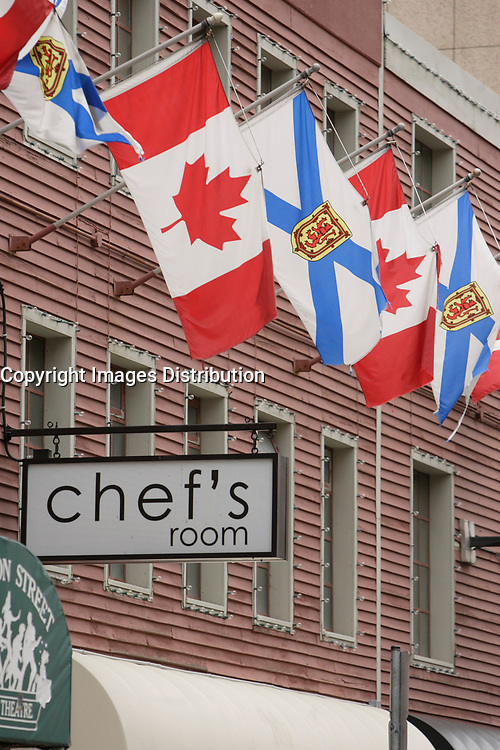 Halifax (NS) CANADA, June 1, 2007 -<br /> <br /> Nova Scotia and Canada's flags in fron of <br /> CHEF'S ROOM restaurant<br /> <br />     photo by Pierre Roussel - Images Distribution