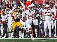 PASADENA, CA - January 1, 2016: The 2016 Rose Bowl. The Stanford Cardinal vs the Iowa Hawkeyes at the Rose Bowl in Pasadena, CA. Final score Stanford Cardinal 45, Iowa Hawkeyes 16.
