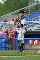 Hudson Valley Renegades catcher Jose Rojas (5) during a game against the Batavia Muckdogs on July 31, 2016 at Dwyer Stadium in Batavia, New York.  Hudson Valley defeated Batavia 4-1.  (Mike Janes/Four Seam Images)