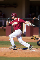 Kyle Edwards (6) of the Winthrop Eagles follows through on his swing against the Kennesaw State Owls at the Winthrop Ballpark on March 15, 2015 in Rock Hill, South Carolina.  The Eagles defeated the Owls 11-4.  (Brian Westerholt/Four Seam Images)
