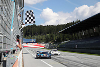 5th September 2021; Red Bull Ring, Spielberg, Austria; DTM Race 2 at Spielberg;   Liam Lawson NZ Red Bull AF Corse, Ferrari 488 GT3 Evo takes the chequered flag to win race 2 to add to Race 1 on 4th September