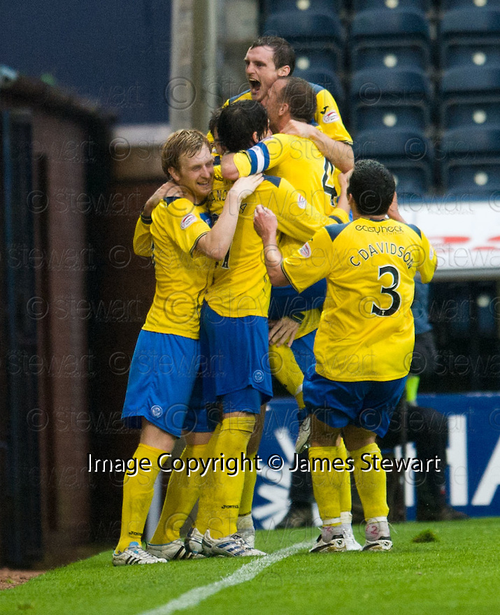 ST JOHNSTONE'S CILLIAN SHERIDAN IS CONGRATULATED AFTER HE SCORES ST JOHNSTONE'S SECOND