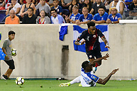 Harrison, NJ - Friday July 07, 2017: Rodney Wallace, Maynor Figueroa during a 2017 CONCACAF Gold Cup Group A match between the men's national teams of Honduras (HON) vs Costa Rica (CRC) at Red Bull Arena.