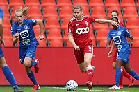 Lore Jacobs (17) of AA Gent, Feli Delacauw (44) of AA Gent and Aster Janssens (5) of Standard  in action during a female soccer game between Standard Femina de Liege and KAA Gent Ladies on the second match day of the 2021 - 2022 season of Belgian Scooore Womens Super League , Saturday 28 th of August 2021  in Liege, Belgium . PHOTO SPORTPIX | SEVIL OKTEM