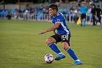 SAN JOSE, CA - MAY 12: Cristian Espinoza #10 of the San Jose Earthquakes dribbles the ball during a game between San Jose Earthquakes and Seattle Sounders FC at PayPal Park on May 12, 2021 in San Jose, California.