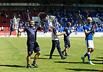 St Johnstone v Fleetwood Town…24.07.21  McDiarmid Park<br />Manager Callum Davidson holding both trophies as he takes his players on a walk around the ground to show the home fans the two trophies.<br />Picture by Graeme Hart.<br />Copyright Perthshire Picture Agency<br />Tel: 01738 623350  Mobile: 07990 594431