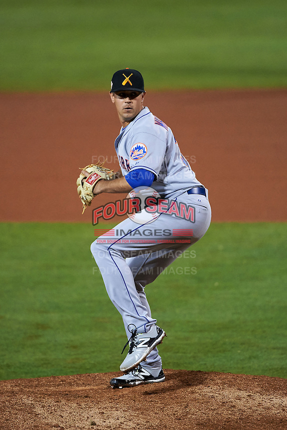 Salt River Rafters pitcher Beck Wheeler (38) delivers a pitch during an Arizona Fall League game against the Mesa Solar Sox on October 23, 2015 at Sloan Park in Mesa, Arizona.  Salt River defeated Mesa 5-1.  (Mike Janes/Four Seam Images)