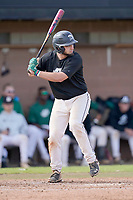 Drew Camp (9) of the University of South Carolina Upstate Spartans Green team bats in the Green and Black Fall World Series Game 2 on Saturday, October 31, 2020, at Cleveland S. Harley Park in Spartanburg, South Carolina. Green won, 6-5. (Tom Priddy/Four Seam Images)