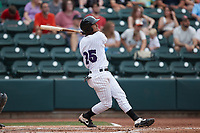 Lenyn Sosa (25) of the Winston-Salem Dash follows through on his swing against the Greensboro Grasshoppers at Truist Stadium on June 19, 2021 in Winston-Salem, North Carolina. (Brian Westerholt/Four Seam Images)