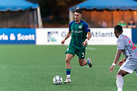 HARTFORD, CT - JULY 10: Younes Boudadi #3 of Hartford Athletic passes the ball during a game between New York Red Bulls II and Hartford Athletics at Dillon Stadium on July 10, 2021 in Hartford, Connecticut.