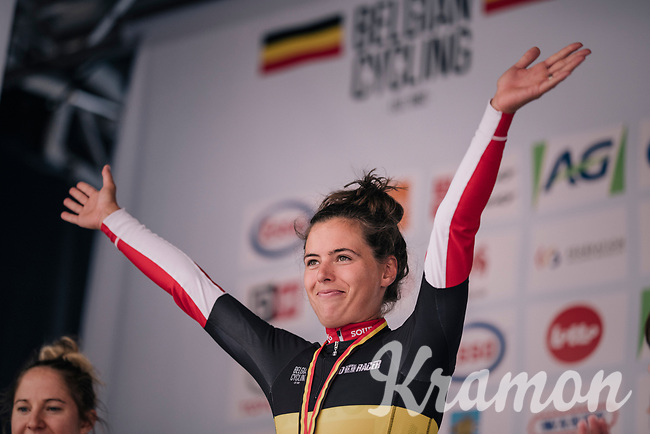Annelies Dom (BEL/Lotto-Soudal) is the new elite women's National Champion<br /> <br /> Belgian National Championships 2018 (road) in Binche (224km)<br /> ©kramon