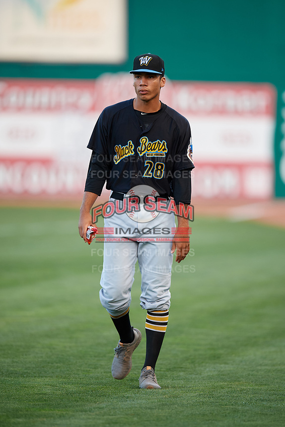 West Virginia Black Bears pitcher Alex Manasa (28) before a game against the State College Spikes on August 30, 2018 at Medlar Field at Lubrano Park in State College, Pennsylvania.  West Virginia defeated State College 5-3.  (Mike Janes/Four Seam Images)
