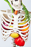 Fruits and Vegetables inside skeleton on white cut out background.