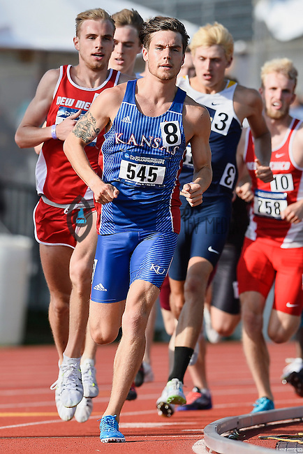 Josh Munsch of Kansas leads runners in 1500 meter prelims during West Preliminary Track and Field Championships, Friday, May 29, 2015 in Austin, Tex. (Mo Khursheed/TFV Media via AP Images)