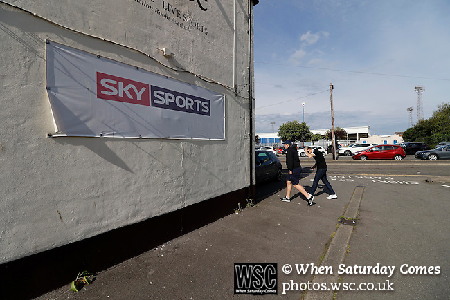 Hartlepool United 0 Sunderland 3, 20/07/2016. Victoria Park, Pre Season Friendly. a pub with an advertising banner for Sky Sports, near Victoria Park. Photo by Paul Thompson.