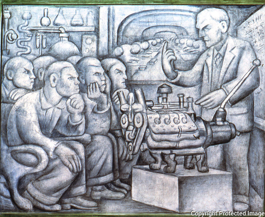 Detroit:  Detroit Industry--South Wall 1932-33. Diego M. Rivera 1886-1957. Trade school, Henry Ford.  Reference only.