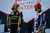 \I#26: Colton Herta, Andretti Autosport w/ Curb-Agajanian Honda celebrates winning, #51: Romain Grosjean, Dale Coyne Racing with RWR Honda