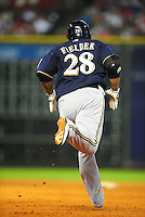 Apr. 30, 2011; Houston, TX, USA: Milwaukee Brewers first baseman Prince Fielder rounds the bases after hitting a home run against the Houston Astros at Minute Maid Park. Mandatory Credit: Mark J. Rebilas-