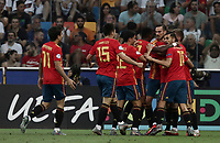 Spain's Fabian Ruiz, third from right, celebrates with teammates after scoring a goal during the Uefa Under 21 Championship 2019 football final match between Spain and Germany at Udine's Friuli stadium, Italy, June 30, 2019. Spain won 2-1.<br /> UPDATE IMAGES PRESS/Isabella Bonotto