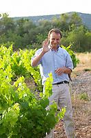 Chateau de Lascaux, Vacquieres village. Pic St Loup. Languedoc. Jean-Benoît Cavalier . Syrah vine variety. Tourtourelle area. Owner winemaker. France. Europe. Vineyard.