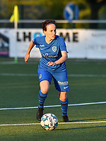 Silke Sneyers (2) of KRC Genk in action during a female soccer game between  Racing Genk Ladies and Eendracht Aalst on the 5 th matchday of play off 2 in the 2020 - 2021 season of Belgian Scooore Womens Super League , friday 7 th of May 2021  in Genk , Belgium . PHOTO SPORTPIX.BE | SPP | JILL DELSAUX