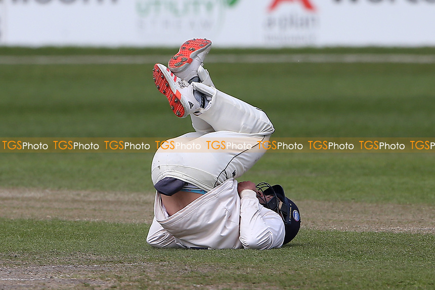 Ryan ten Doeschate of Essex takes a tumble while fielding during Worcestershire CCC vs Essex CCC, LV Insurance County Championship Group 1 Cricket at New Road on 2nd May 2021