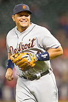Detroit Tigers third baseman Miguel Cabrera (24) smiles during the MLB baseball game against the Houston Astros on May 3, 2013 at Minute Maid Park in Houston, Texas. Detroit defeated Houston 4-3. (Andrew Woolley/Four Seam Images).