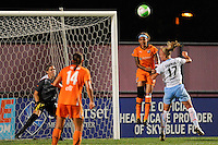 Natasha Kai (6) of Sky Blue FC and Katie Chapman (17) of the Chicago Red Stars go for a header. The Chicago Red Stars defeated Sky Blue FC 2-1 during a Women's Professional Soccer (WPS) match at Yurcak Field in Piscataway, NJ, on August 01, 2010.