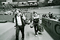 Rotterdam, The Netherlands, 15 March 1981, ABN WCT World Tennis Tournament, Ahoy,   Eric Wilborts (NED) (R) enters the court with his opponent  Dupré (USA)<br /> Photo: www.tennisimages.com/Henk Koster