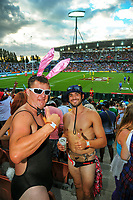 Fans on day two of the 2018 HSBC World Sevens Series Hamilton at FMG Stadium in Hamilton, New Zealand on Saturday, 3 February 2018. Photo: Dave Lintott / lintottphoto.co.nz