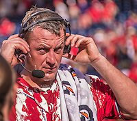 28 September 2014: Washington Nationals starting pitcher Jordan Zimmermann adjusts his headset for an interview after having thrown his first career no-hitter against the Miami Marlins at Nationals Park in Washington, DC. The Nationals shut out the Marlins 1-0, caping the season with the first Nationals no-hitter in modern times. The win also notched a 96 win season for the Nats: the best record in the National League. Mandatory Credit: Ed Wolfstein Photo *** RAW (NEF) Image File Available ***